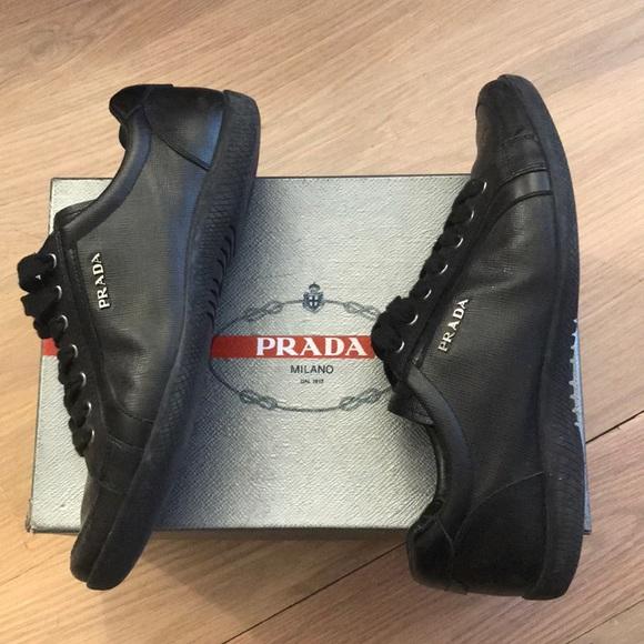 Prada Saffiano Lux Black Sneakers Women